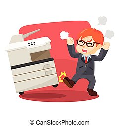 hombre de negocios, enojado, fotocopia, patear