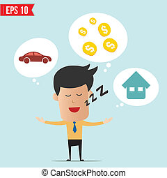 hombre de negocios, ensueño, sobre, dinero, casa, y, coche