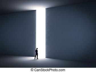hombre de negocios, entrada, light., sobre, cruz