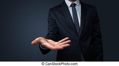 hombre de negocios, entregar, concepto, algo, sin