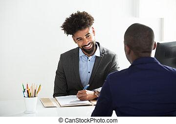 hombre de negocios, entrevistar, macho, candidato