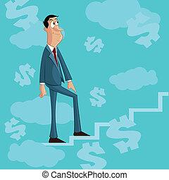 hombre de negocios, escalera que sube, de, éxito