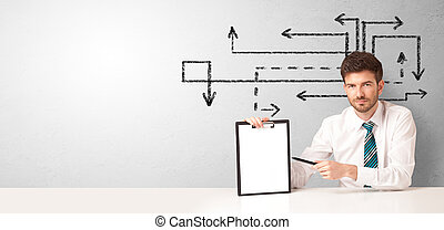 hombre de negocios, escritorio, flechas, alrededor, sentado