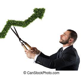 hombre de negocios, eso, cortes, y, ajusta, un, planta, formado, como, un, flecha, stats., concepto, de, inicio, compañía, ., 3d, interpretación