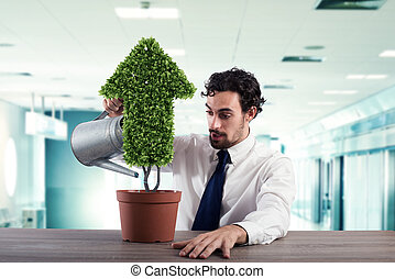 hombre de negocios, eso, regar, un, planta, con, un, forma, de, arrow., concepto, de, crecer, de, compañía, economía, .