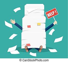 hombre de negocios estresado, debajo, pila, de, oficina, papeles