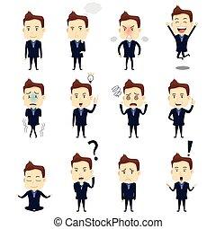 hombre de negocios, expresión, iconos