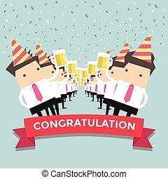 hombre de negocios, felicitación, fiesta