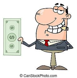 hombre de negocios, feliz, dólar, exposiciones, grande