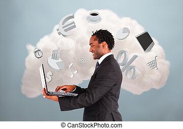 hombre de negocios, feliz, de conexión, nube, informática