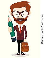 hombre de negocios, feliz, tenencia, lápiz
