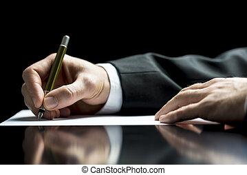 hombre de negocios, firma, o, carta, escritura