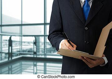 hombre de negocios, firma, un, documento