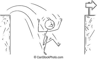 hombre de negocios, fracasado, desafío, defecto, caricatura
