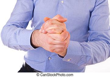 hombre de negocios, frotamiento, el suyo, juntos., manos