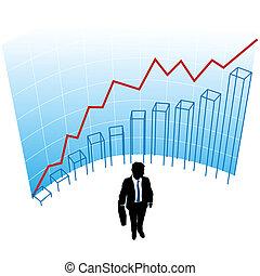 hombre de negocios, gráfico, gráfico, curva, éxito, concepto