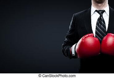 hombre de negocios, guantes de boxeo