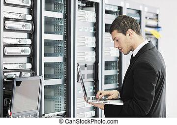 hombre de negocios, habitación, red, computador portatil, ...