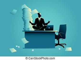 hombre de negocios, hacer, yoga, en, oficina, tabla