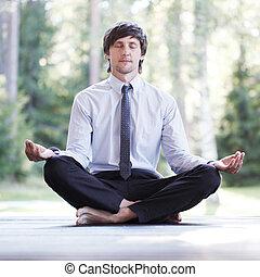 hombre de negocios, hacer, yoga