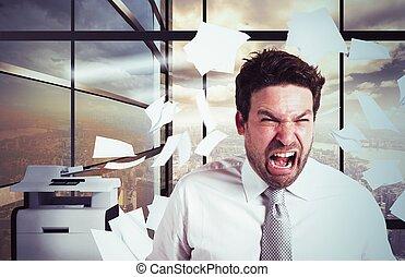 hombre de negocios hecho trabajar demasiado, tiempo ...