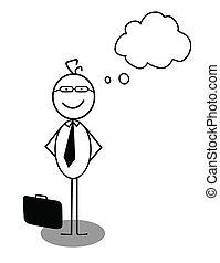 hombre de negocios, idea, opinión