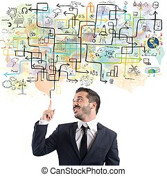 hombre de negocios, idea, plan