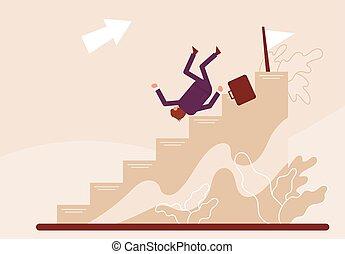 hombre de negocios, illustration., carrera, color, ladder., caricatura, bajas, vector, abajo