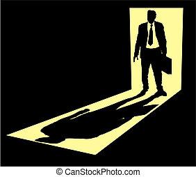 hombre de negocios, ilustración, posición, maletín, puerta