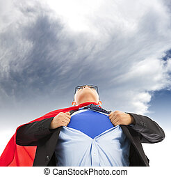 hombre de negocios, imitar, superhombre, para tirar, el...