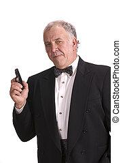 hombre de negocios, impersonating, más viejo, james, bono