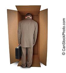 hombre de negocios, infeliz, trabajo, en caja