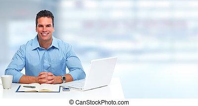 hombre de negocios, joven, laptop.