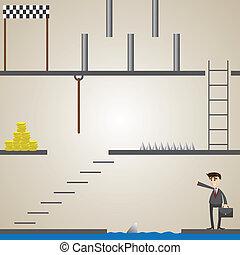 hombre de negocios, juego, misión, caricatura