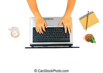 hombre de negocios, laptop., utilizar