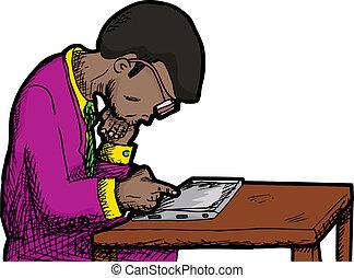 hombre de negocios, lectura, tableta