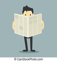 hombre de negocios, leer un periódico