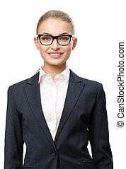 hombre de negocios, lentes, retrato de medio cuerpo, hembra...
