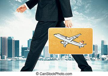 hombre de negocios, lleva, maleta, con, avión, impresión, en, ciudad, plano de fondo