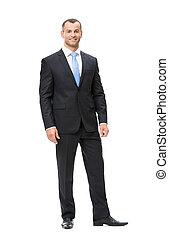 hombre de negocios, longitud, lleno