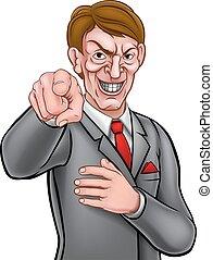 hombre de negocios, mal, señalar