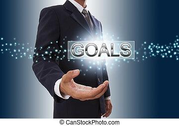 hombre de negocios, mano, actuación, metas, botón, en, virtual, screen.