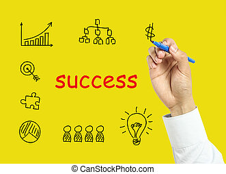 hombre de negocios, mano, dibujo, empresa / negocio, éxito, concepto