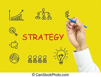 hombre de negocios, mano, dibujo, estrategia, concepto