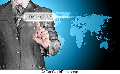 hombre de negocios, mano, empujar, contáctenos, botón
