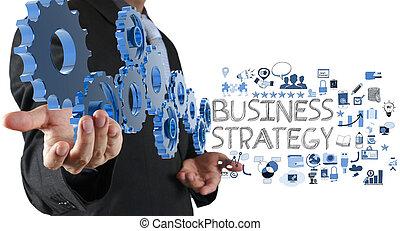 hombre de negocios, mano, exposición, engranaje, dientes, y, estrategia de la corporación mercantil, como, concepto