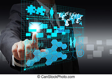 hombre de negocios, mano, punto, en, virtual, empresa /...