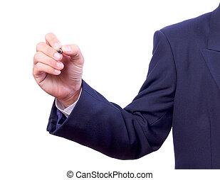 hombre de negocios, mano que sostiene la pluma, aislado