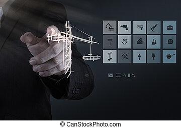 hombre de negocios, mano, trabajando, con, computadora nueva, interfaz, exposición, edificio, desarrollo, concepto