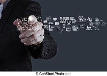 hombre de negocios, mano, trabajando, con, diseño telaraña,...